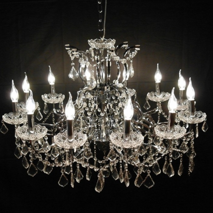 Large 12 Branch Arm Chrome Shallow Cut Glass Chandelier   - La Maison Chic Furniture Company Online