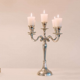 Small Aluminium Polished Candelabra   - La Maison Chic Furniture Company Online