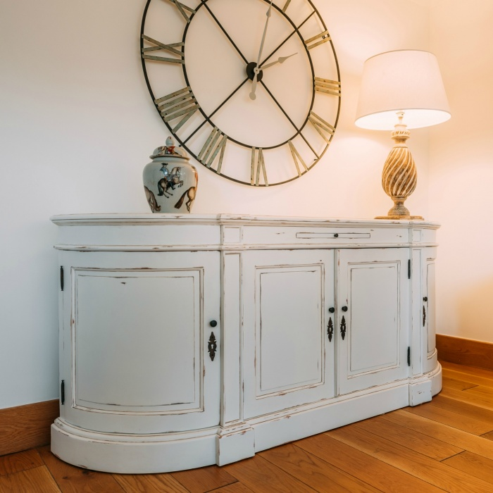 French Distressed White Large Sideboard Cabinet  Furniture