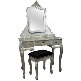 French Style Antique Silver Dressing Table and Stool   - La Maison Chic Furniture Company Online