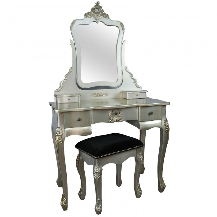 French style antique silver dressing table and stool furniture la maison chic luxury interiors - Outstanding dressing table with mirror light arrounds ...