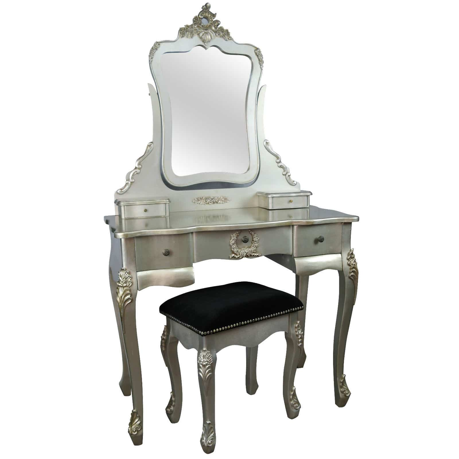 French style antique silver dressing table and stool for Furniture in french