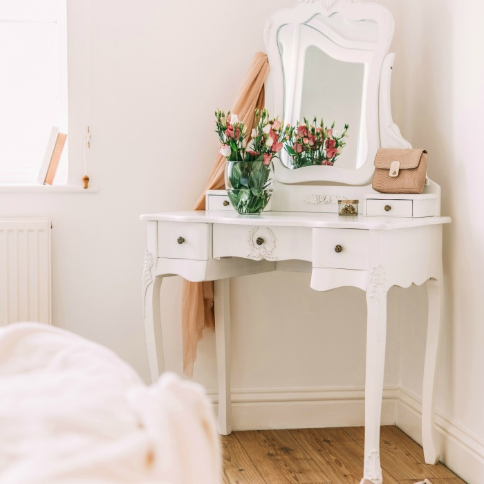 French Style White Dressing Table and Stool   - La Maison Chic Furniture Company Online
