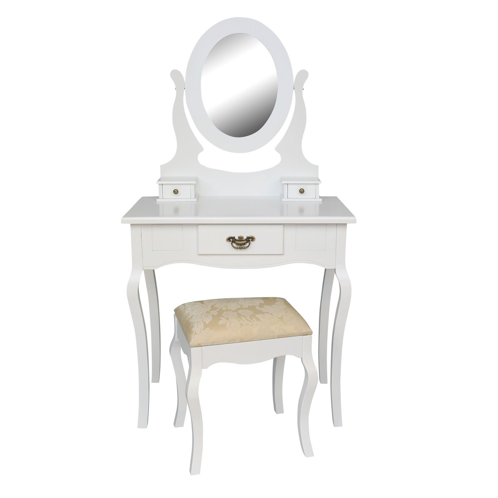 White Dressing Table, Mirror And Stool Set Furniture - La Maison ...