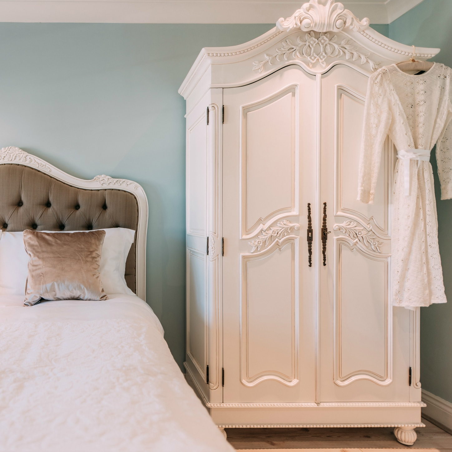 French White Hand Carved Double Armoire Wardrobe   La Maison Chic Furniture  Company Online Good Looking