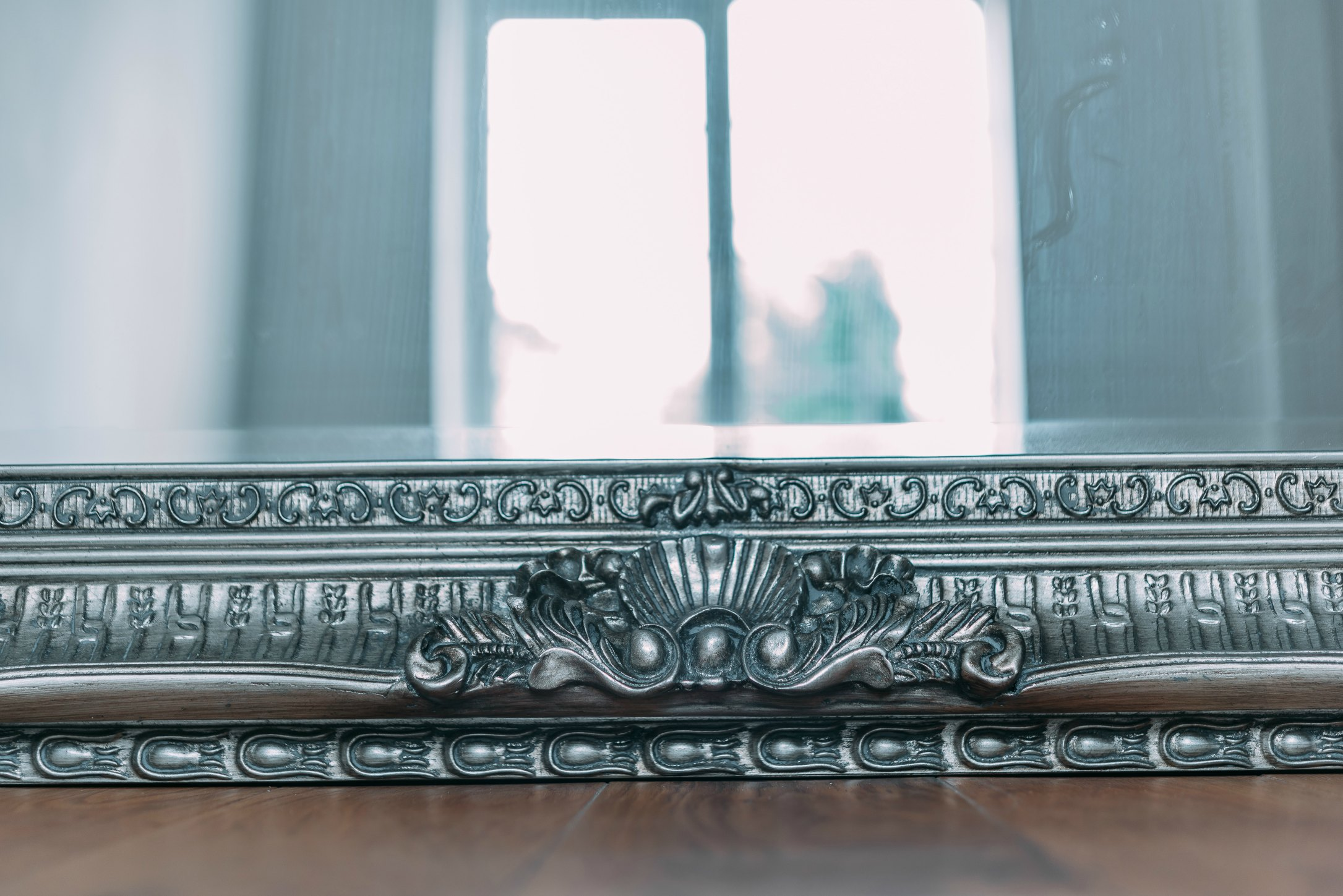 Francoise Extra Large Ornate Antiqued Silver Mirror