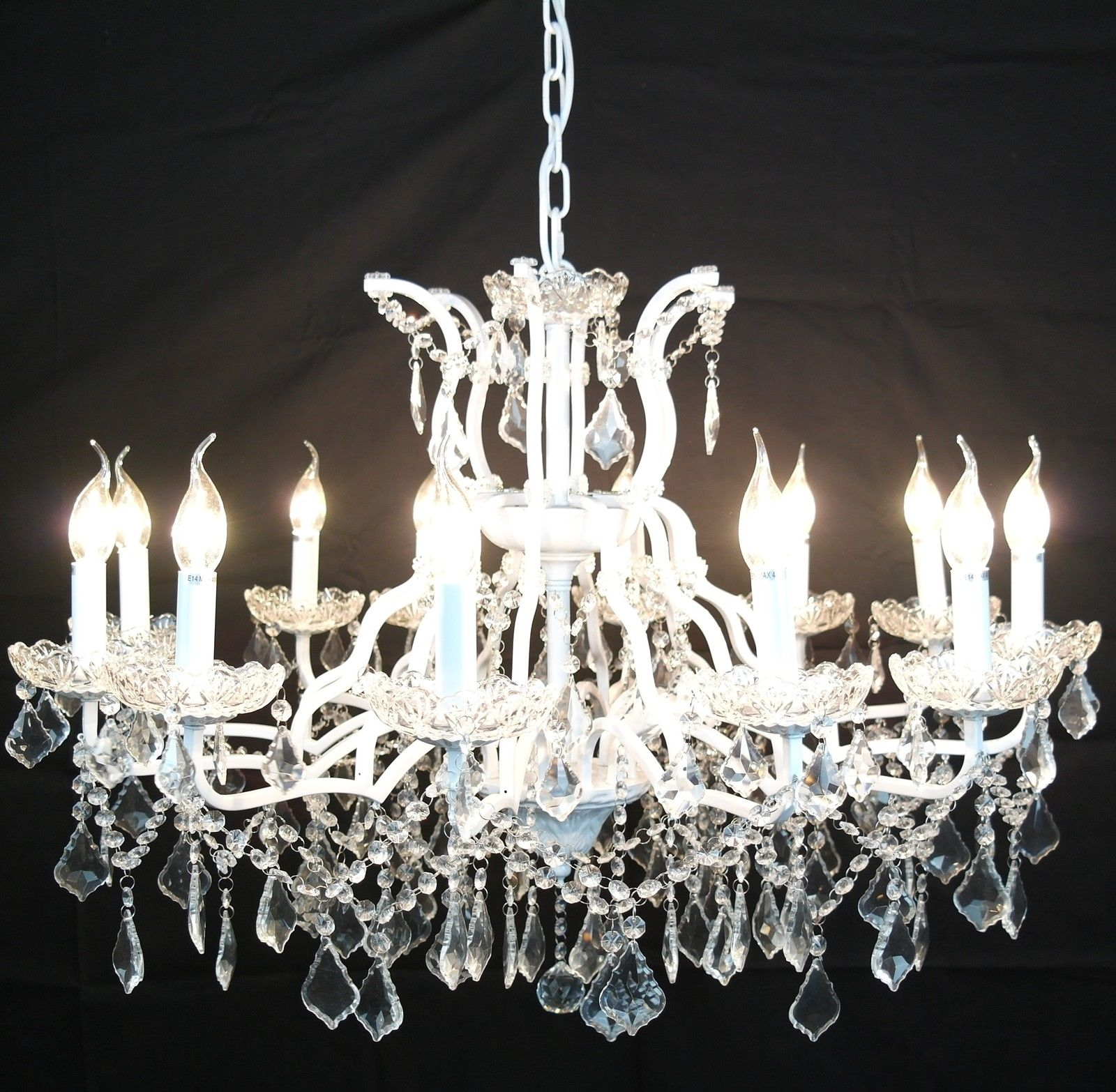 Large 12 Branch Arm White Shallow Cut Glass Chandelier