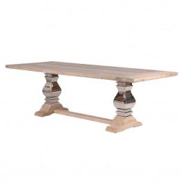 Extra Large Farmhouse Dining Table With Metal Legs   - La Maison Chic Furniture Company Online