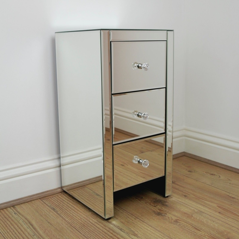 Venetian 3 Drawer Mirror Bedside   - La Maison Chic Furniture Company Online