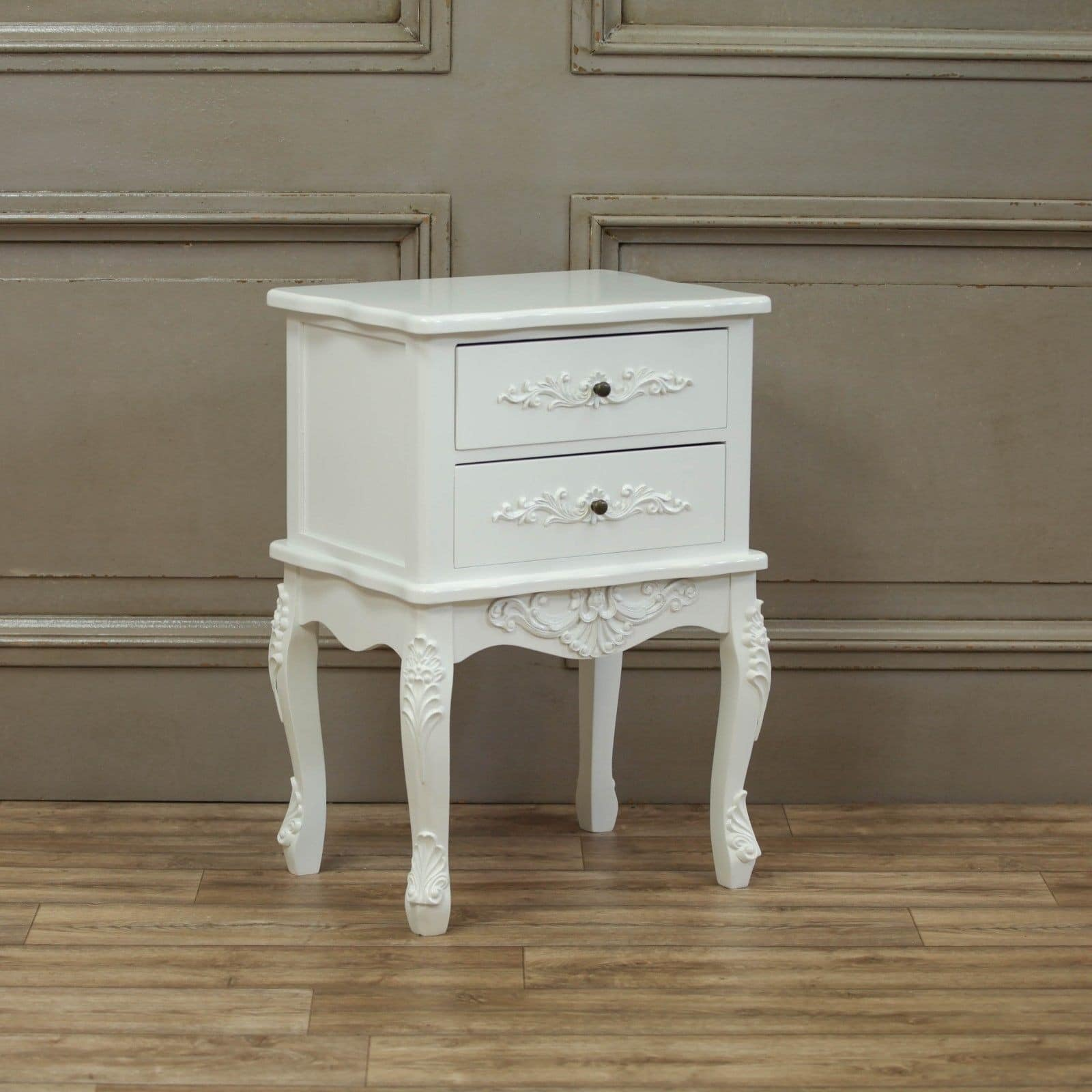 French White 2 Drawer Bedside Table Furniture La Maison