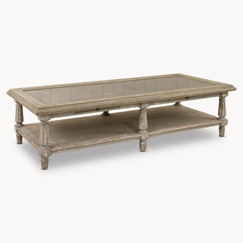Rustic Grey Coffee Table With Stone Top   - La Maison Chic Furniture Company Online