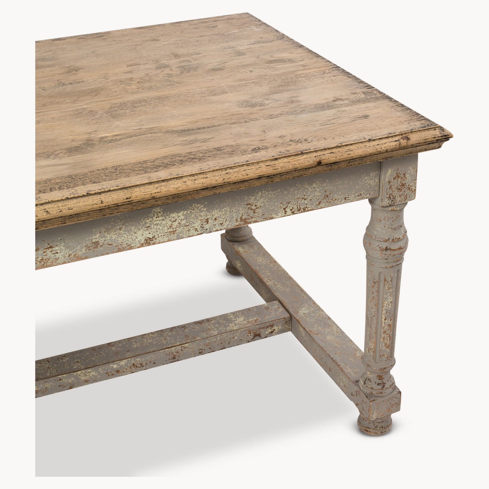 Large andalusia distressed dining table furniture la for Large dining table