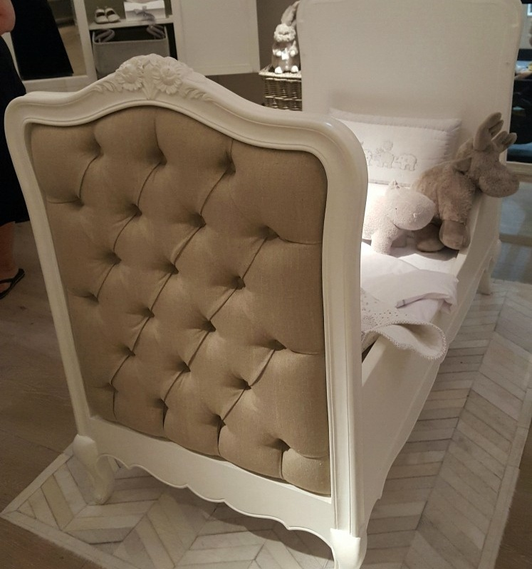 French Style White Upholstered Buttoned Cot Bed   - La Maison Chic Furniture Company Online