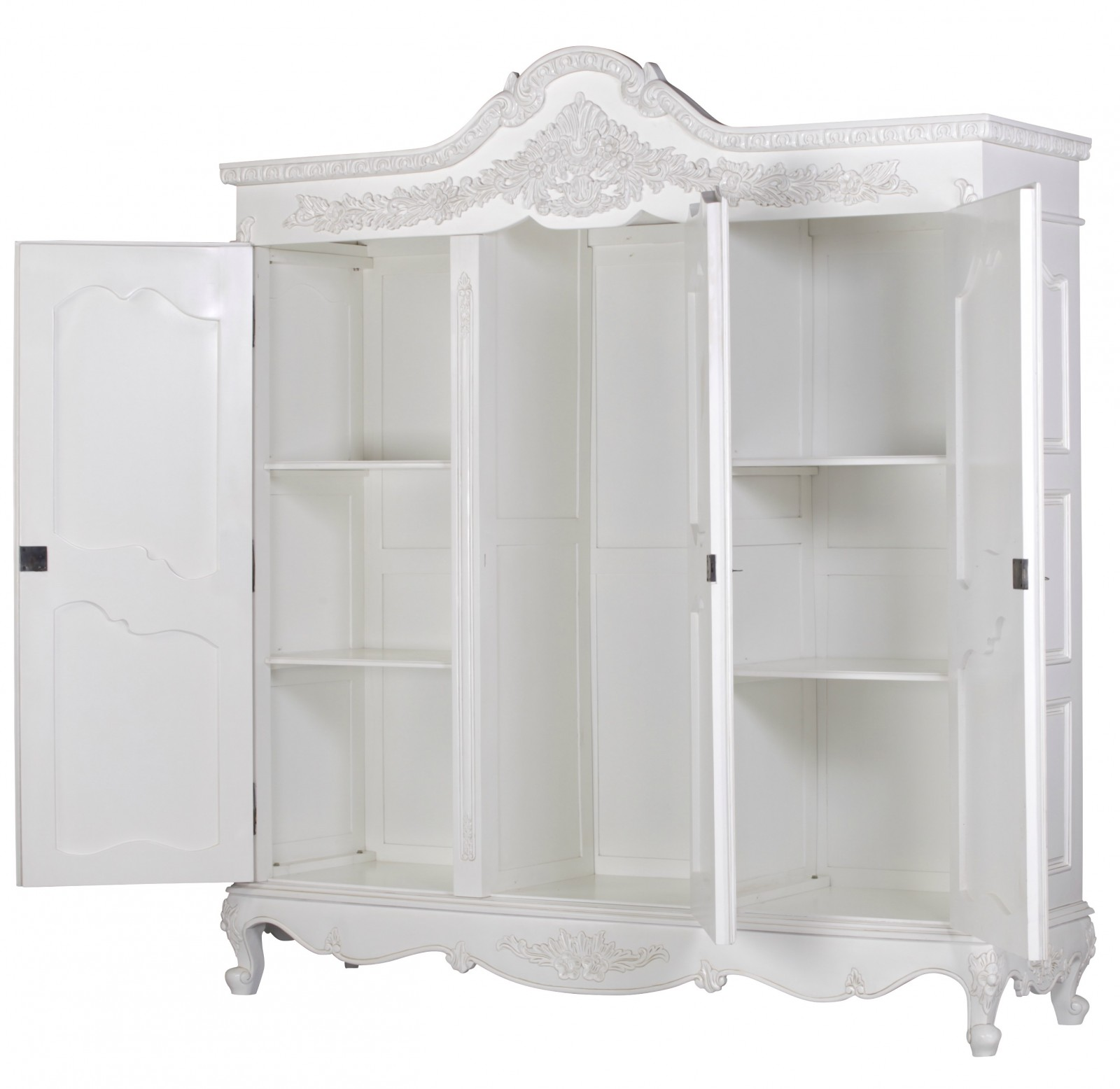 french white hand carved large triple armoire wardrobe furniture
