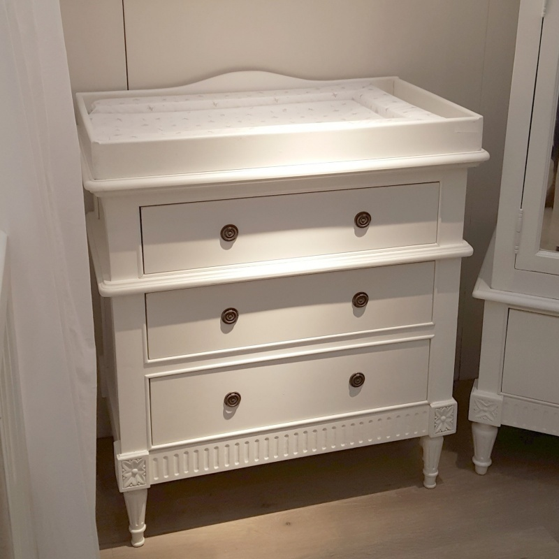 French white chest of drawers with changing unit furniture for A la maison furniture