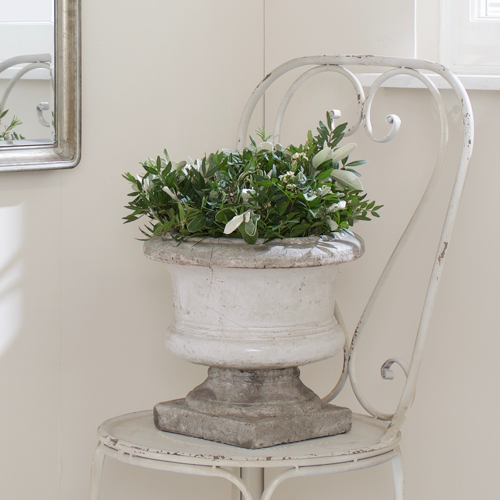 Materials Distressed And Glazed: Small Distressed Ceramic Planter Furniture