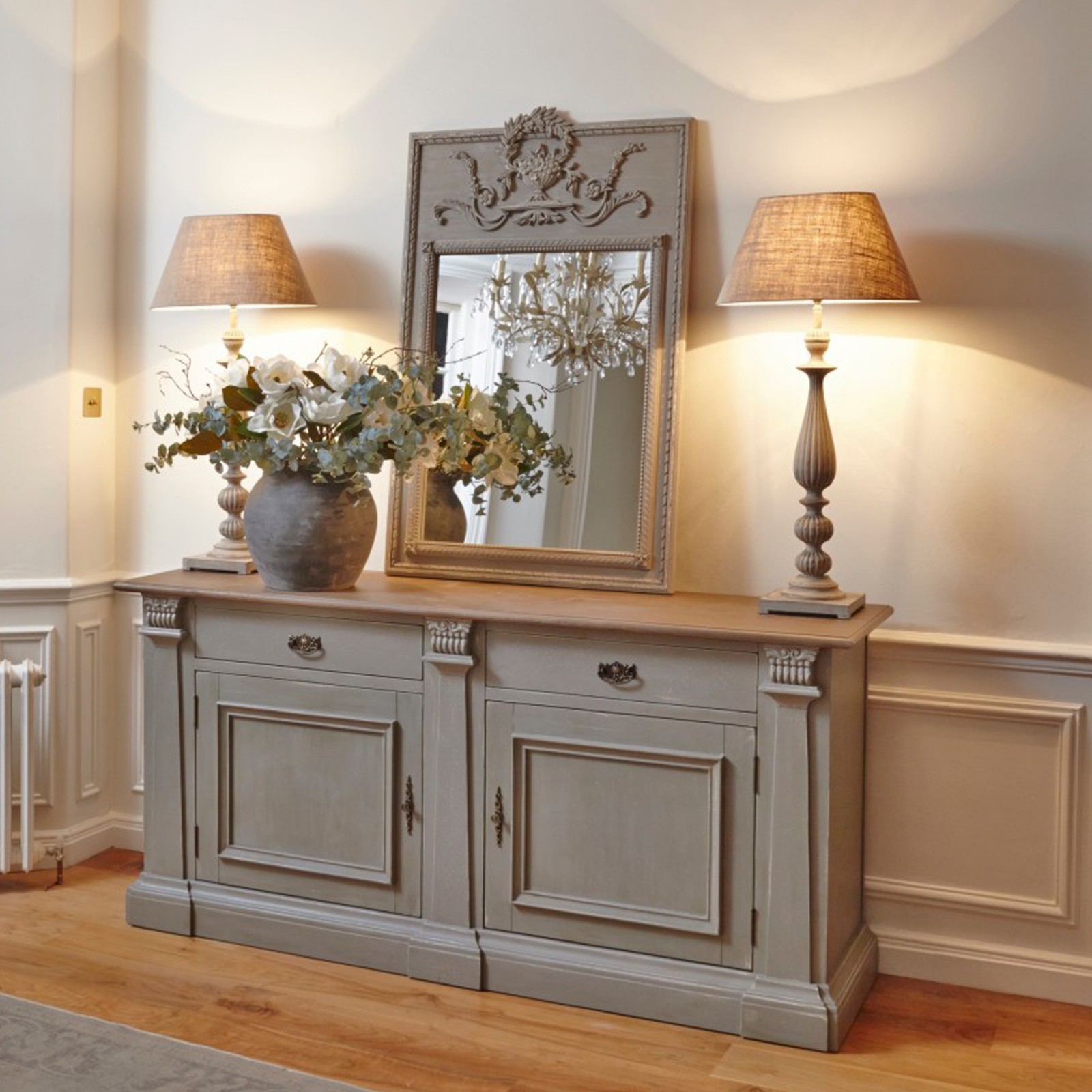 Distressed Grey Sideboard With Oak Top Furniture La