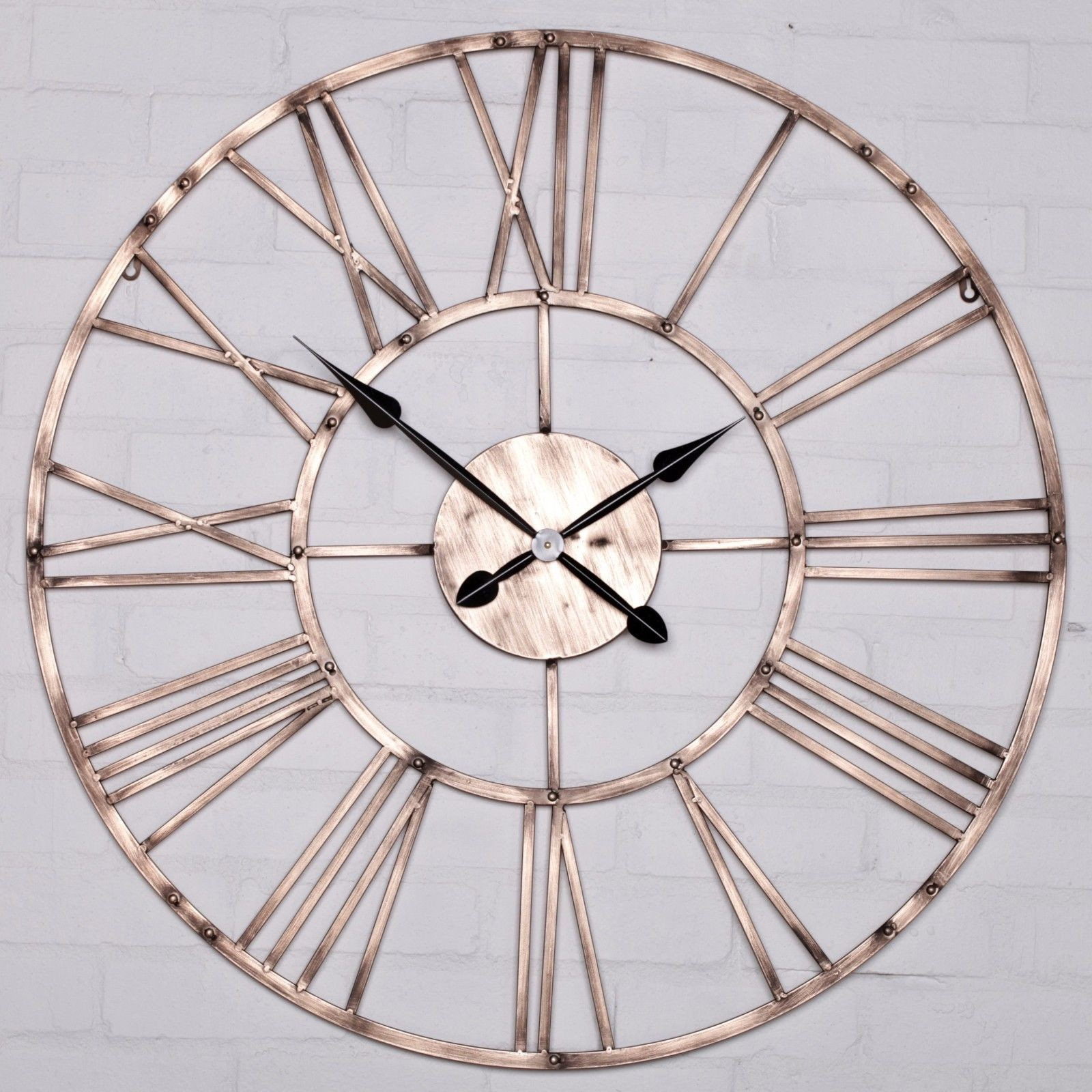 Vintage Copper Effect Metal Wall Clock Furniture La