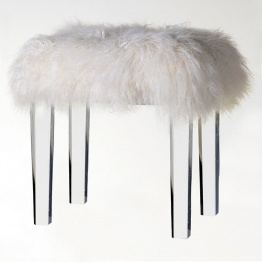 Milou Acrylic Base Fur Stool   - La Maison Chic Furniture Company Online