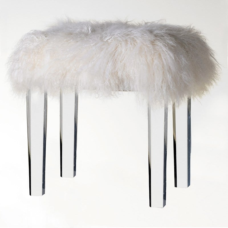 Milou Acrylic Base Fur Stool Furniture La Maison Chic