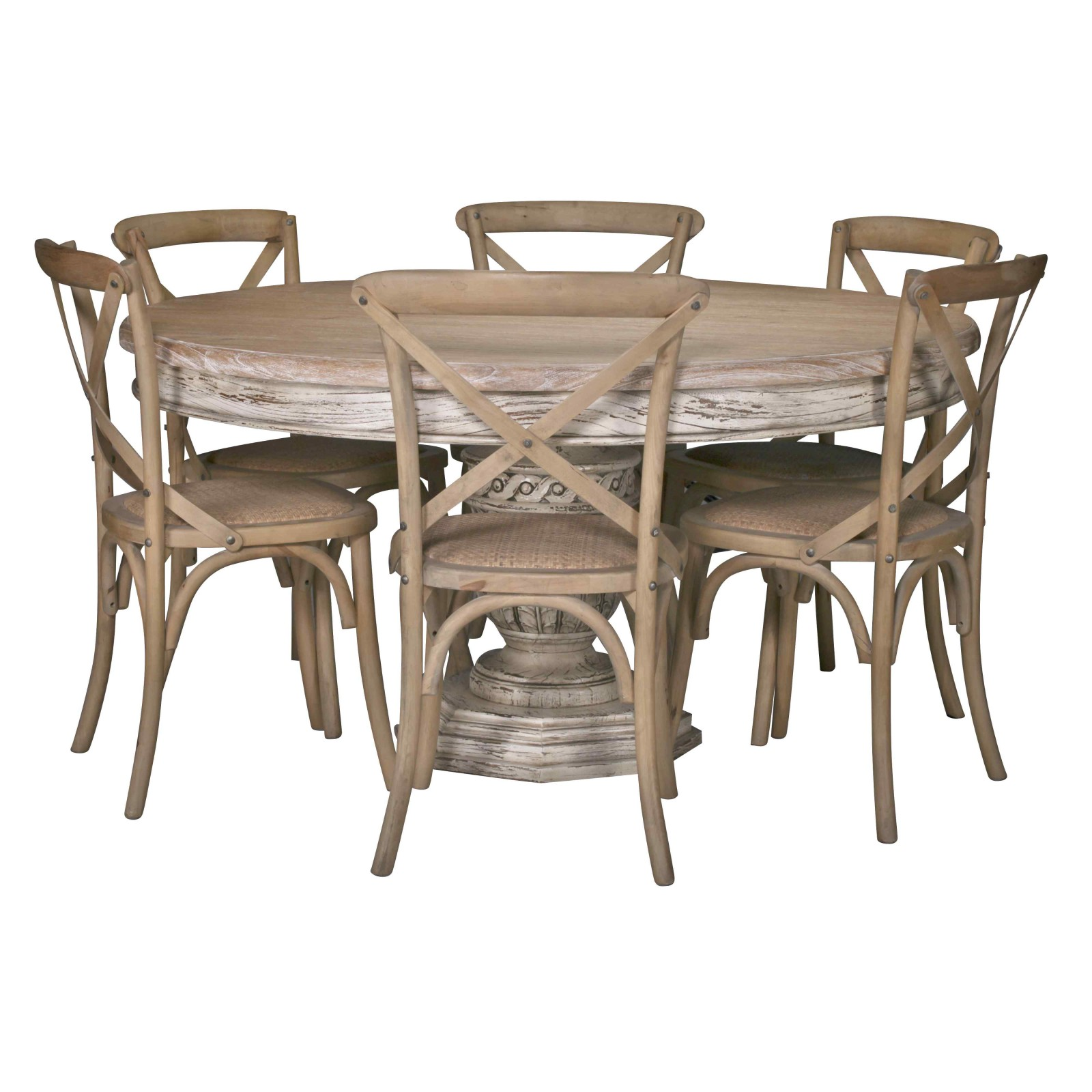 Round Dining Room Tables For 12: Ardennes Distressed 145cm Round Dining Table Furniture
