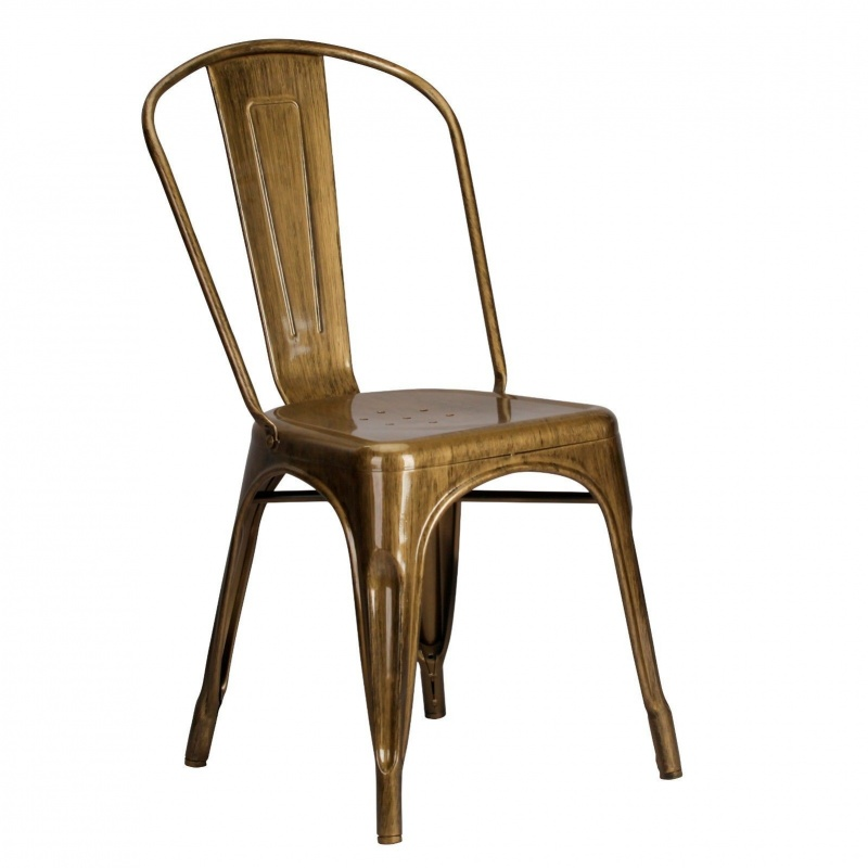 Vintage Tolix Style Metal Brass Gold Finish Dining Chair