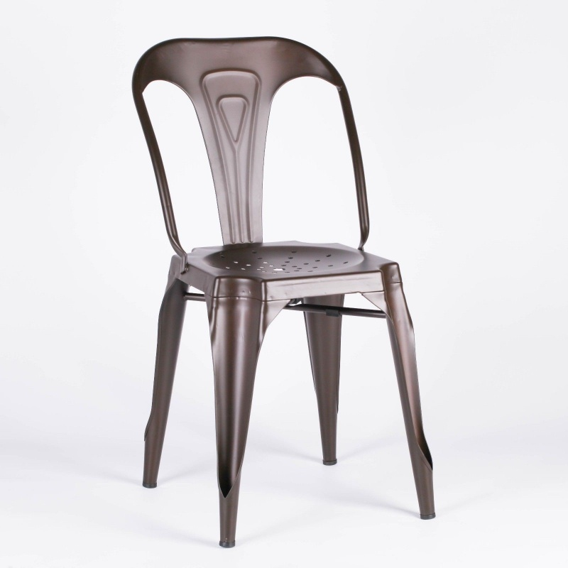 Industrial Style Metal Zinc Effect Dining Chair   - La Maison Chic Furniture Company Online