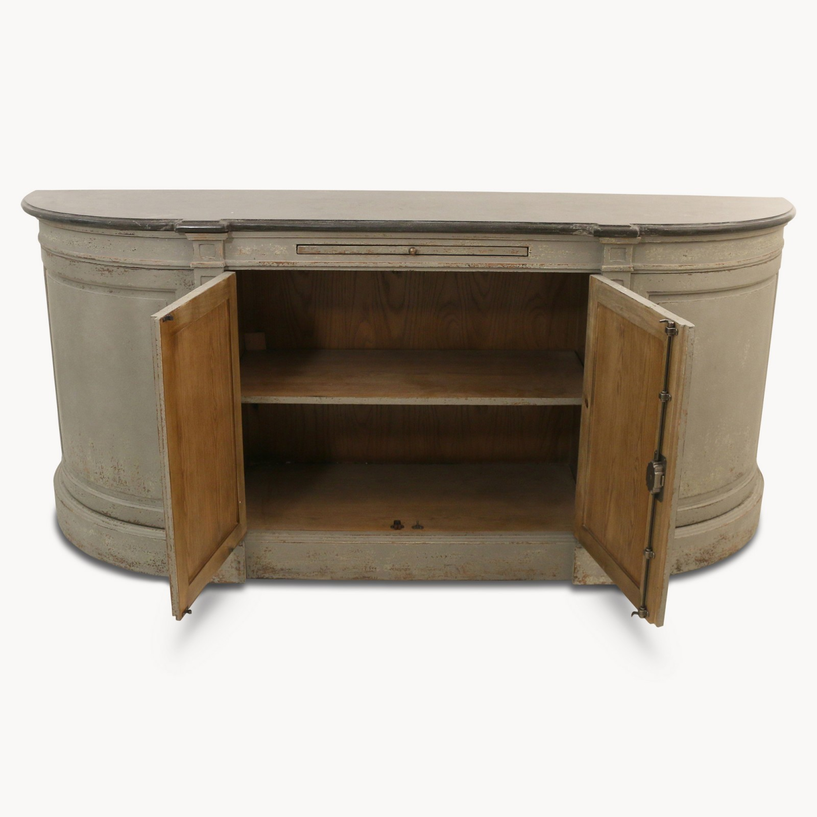 Large Aged Grey Sideboard With Stone Top Furniture La