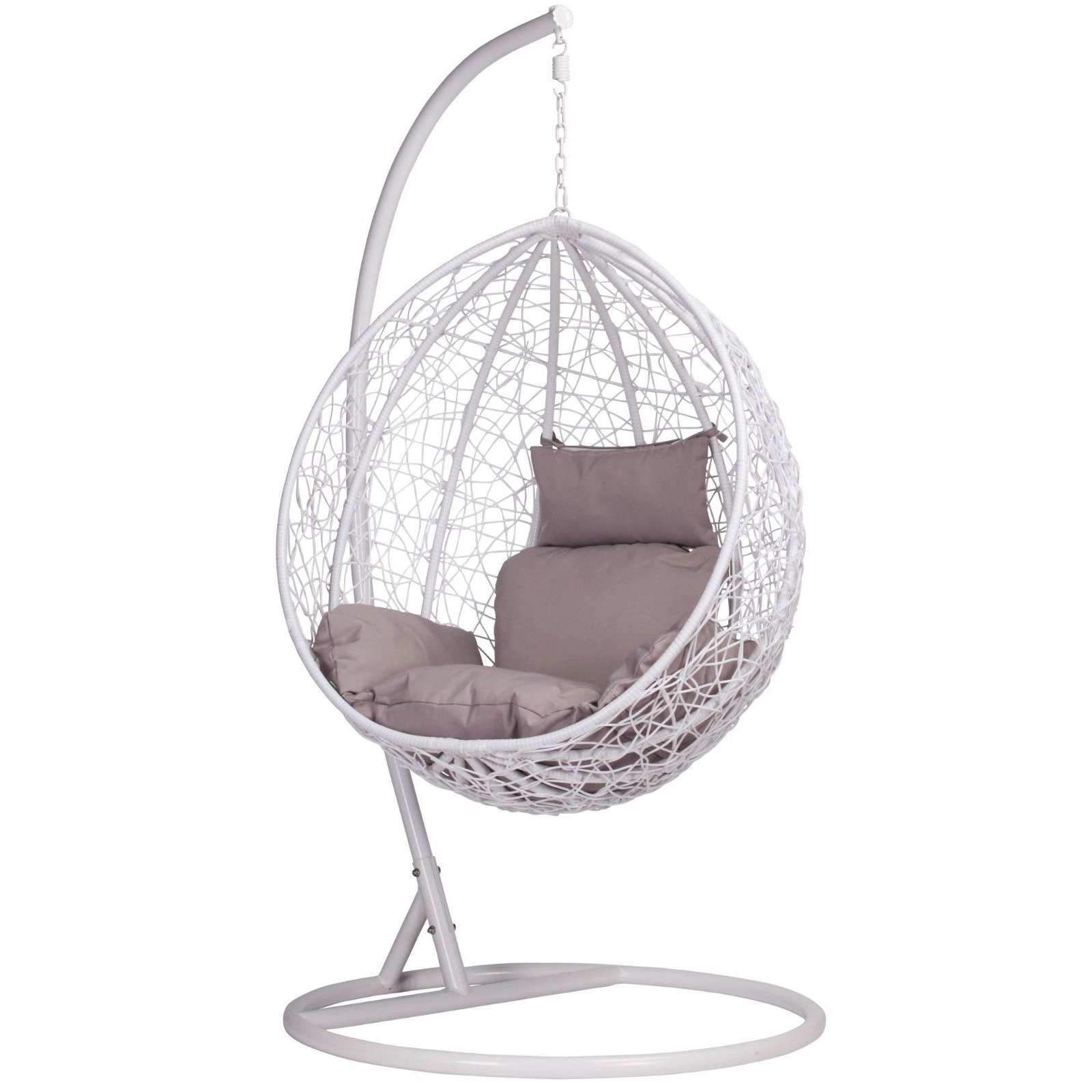 The Egg Chair.White Rattan Swing Weave Patio Garden Hanging Egg Chair