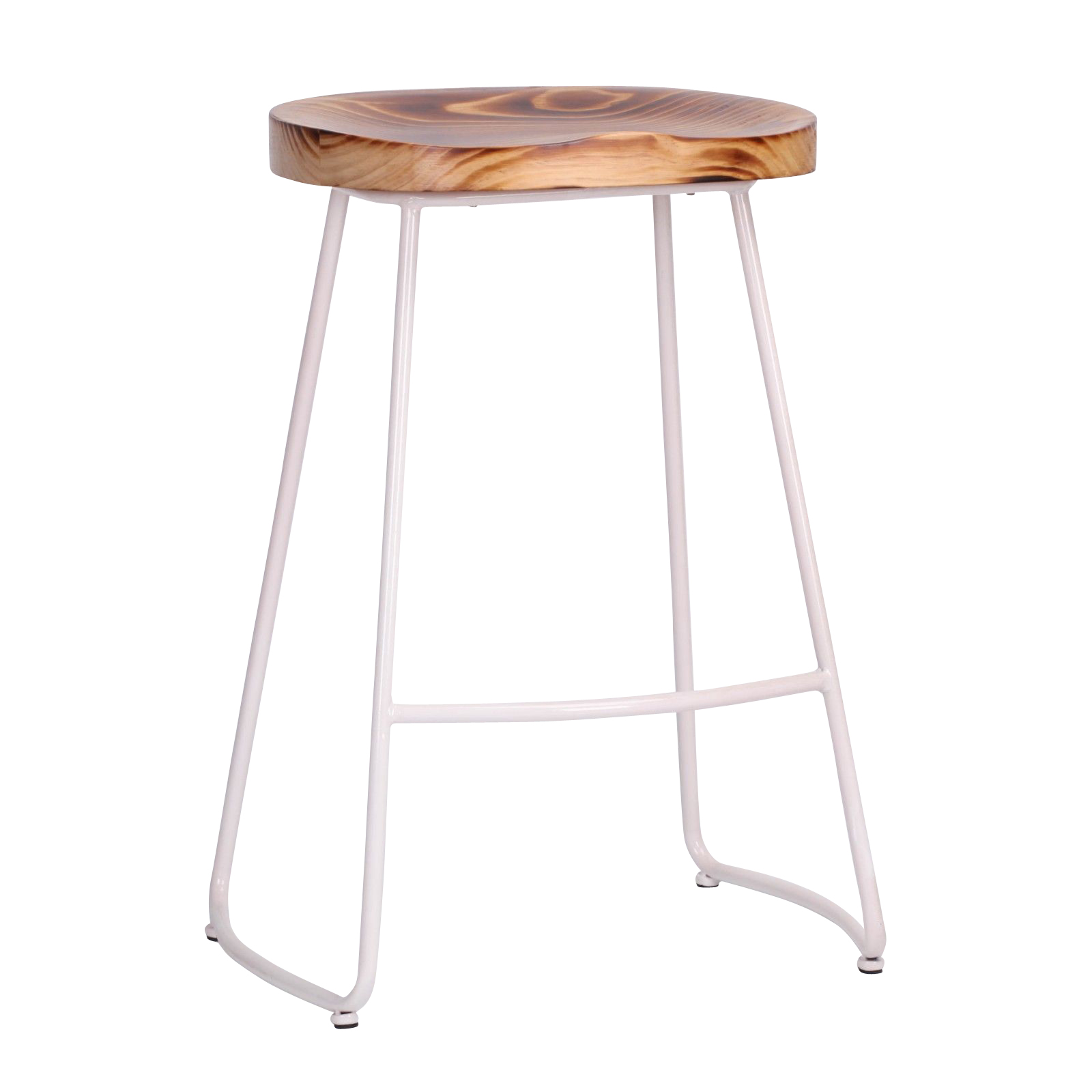 Industrial White Tractor Style Wooden Seat Metal Bar Stool